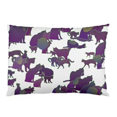 Many Cats Silhouettes Texture Pillow Case by Amaryn4rt