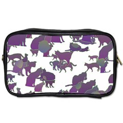 Many Cats Silhouettes Texture Toiletries Bags 2 Side by Amaryn4rt