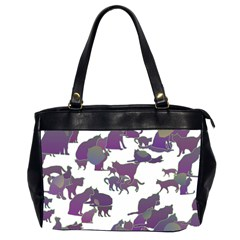 Many Cats Silhouettes Texture Office Handbags (2 Sides)  by Amaryn4rt