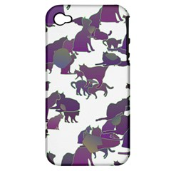 Many Cats Silhouettes Texture Apple Iphone 4/4s Hardshell Case (pc+silicone) by Amaryn4rt