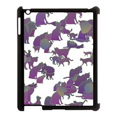Many Cats Silhouettes Texture Apple Ipad 3/4 Case (black) by Amaryn4rt