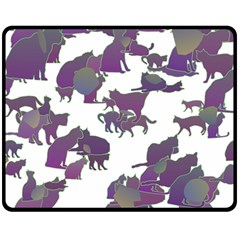Many Cats Silhouettes Texture Double Sided Fleece Blanket (medium)  by Amaryn4rt