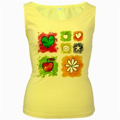 A Set Of Watercolour Icons Women s Yellow Tank Top by Amaryn4rt