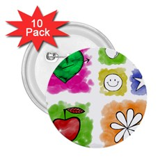 A Set Of Watercolour Icons 2 25  Buttons (10 Pack)  by Amaryn4rt