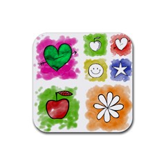 A Set Of Watercolour Icons Rubber Coaster (square)  by Amaryn4rt