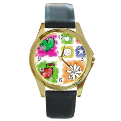 A Set Of Watercolour Icons Round Gold Metal Watch by Amaryn4rt