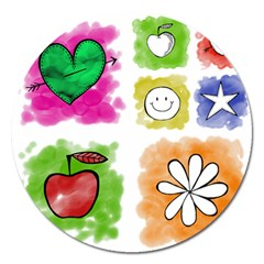 A Set Of Watercolour Icons Magnet 5  (round) by Amaryn4rt