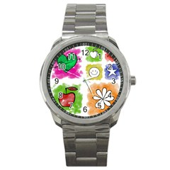 A Set Of Watercolour Icons Sport Metal Watch by Amaryn4rt