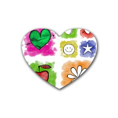 A Set Of Watercolour Icons Rubber Coaster (heart)  by Amaryn4rt