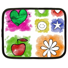 A Set Of Watercolour Icons Netbook Case (large) by Amaryn4rt