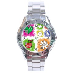 A Set Of Watercolour Icons Stainless Steel Analogue Watch by Amaryn4rt