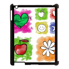 A Set Of Watercolour Icons Apple Ipad 3/4 Case (black) by Amaryn4rt