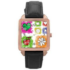 A Set Of Watercolour Icons Rose Gold Leather Watch  by Amaryn4rt