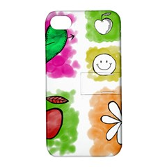 A Set Of Watercolour Icons Apple Iphone 4/4s Hardshell Case With Stand by Amaryn4rt