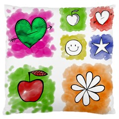 A Set Of Watercolour Icons Large Flano Cushion Case (one Side) by Amaryn4rt