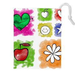 A Set Of Watercolour Icons Drawstring Pouches (xxl) by Amaryn4rt