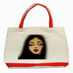 Girl Classic Tote Bag (red) by Valentinaart