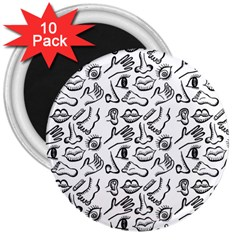 Body Parts 3  Magnets (10 Pack)  by Valentinaart