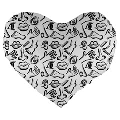Body Parts Large 19  Premium Heart Shape Cushions by Valentinaart