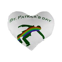 St  Patricks Standard 16  Premium Heart Shape Cushions by Valentinaart
