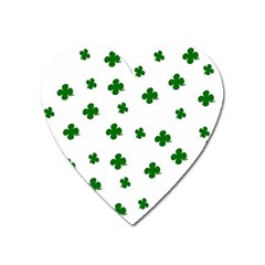 St  Patrick s Clover Pattern Heart Magnet by Valentinaart