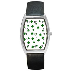 St  Patrick s Clover Pattern Barrel Style Metal Watch by Valentinaart