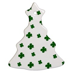 St  Patrick s Clover Pattern Christmas Tree Ornament (two Sides) by Valentinaart
