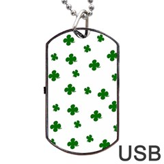 St  Patrick s Clover Pattern Dog Tag Usb Flash (one Side) by Valentinaart