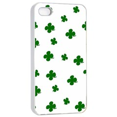 St  Patrick s Clover Pattern Apple Iphone 4/4s Seamless Case (white) by Valentinaart