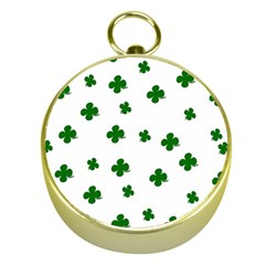 St  Patrick s Clover Pattern Gold Compasses by Valentinaart