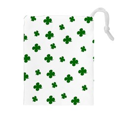 St  Patrick s Clover Pattern Drawstring Pouches (extra Large) by Valentinaart