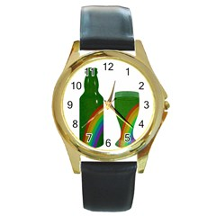 St  Patrick s Day Round Gold Metal Watch by Valentinaart