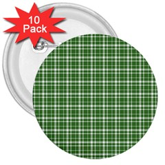St  Patricks Day Plaid Pattern 3  Buttons (10 Pack)  by Valentinaart