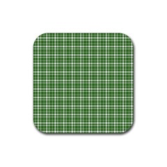St  Patricks Day Plaid Pattern Rubber Square Coaster (4 Pack)  by Valentinaart
