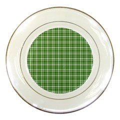 St  Patricks Day Plaid Pattern Porcelain Plates by Valentinaart