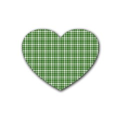 St  Patricks Day Plaid Pattern Rubber Coaster (heart)  by Valentinaart