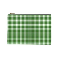St  Patricks Day Plaid Pattern Cosmetic Bag (large)  by Valentinaart