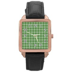St  Patricks Day Plaid Pattern Rose Gold Leather Watch  by Valentinaart
