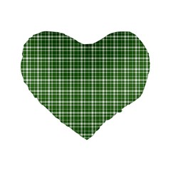 St  Patricks Day Plaid Pattern Standard 16  Premium Flano Heart Shape Cushions by Valentinaart