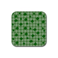 St  Patrick s Day Pattern Rubber Coaster (square)  by Valentinaart