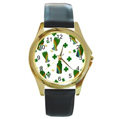 St  Patricks Day  Round Gold Metal Watch by Valentinaart