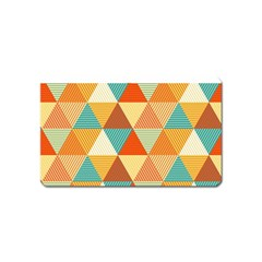 Golden Dots And Triangles Pattern Magnet (name Card) by TastefulDesigns
