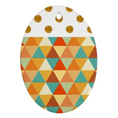 Golden Dots And Triangles Pattern Oval Ornament (two Sides)