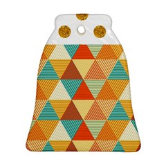 Golden Dots And Triangles Pattern Bell Ornament (two Sides) by TastefulDesigns