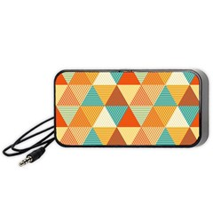 Golden Dots And Triangles Pattern Portable Speaker (black) by TastefulDesigns
