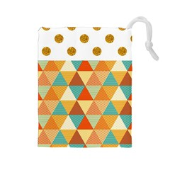 Golden Dots And Triangles Pattern Drawstring Pouches (large)  by TastefulDesigns