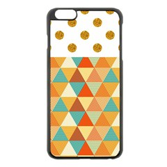 Golden Dots And Triangles Pattern Apple Iphone 6 Plus/6s Plus Black Enamel Case by TastefulDesigns