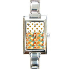 Golden Dots And Triangles Patern Rectangle Italian Charm Watch by TastefulDesigns