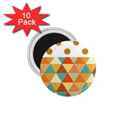 Golden Dots And Triangles Patern 1 75  Magnets (10 Pack)  by TastefulDesigns
