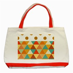 Golden Dots And Triangles Patern Classic Tote Bag (red) by TastefulDesigns